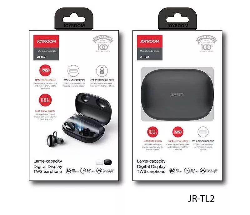 Joyroom JR-TL2 TWS Bluetooth 5.0 Headset - Fekete