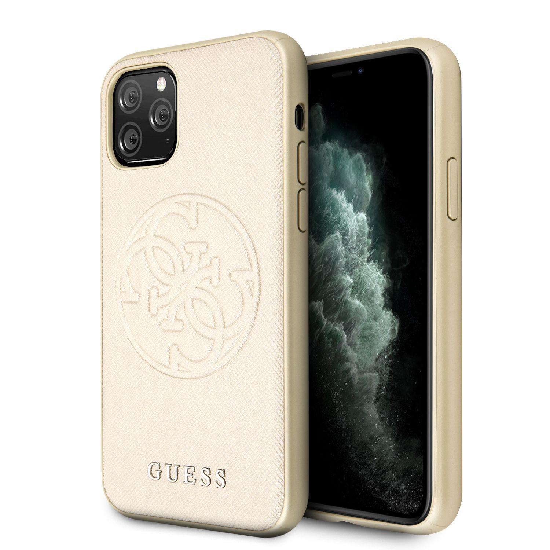 Apple iPhone 11 Pro Max GUESS GUHCN65RSSASGO Hátlap - Arany