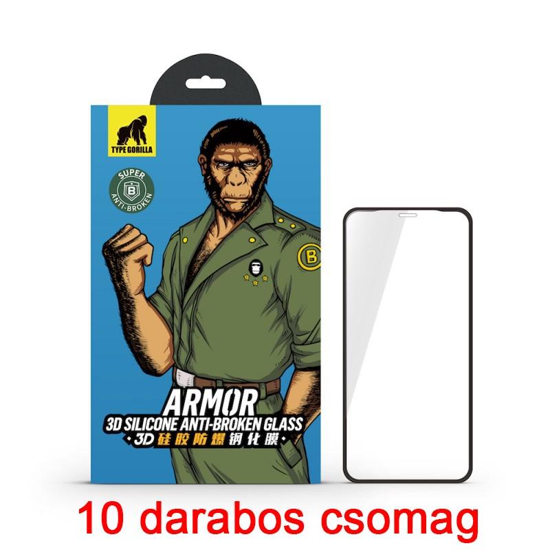 Apple iPhone X/XS/11 Pro TG Armor 3D Silicone Edge 10 Darabos Full Üvegfólia - Fekete