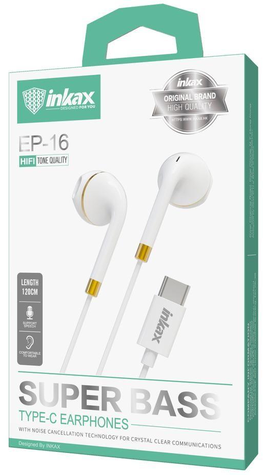 INKAX EP-16 USB Type-C Headset Huawei Mate és P szériához - Fehér