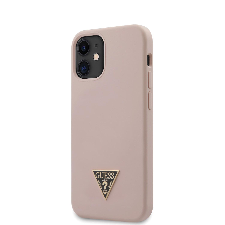 Apple iPhone 12 Mini GUESS GUHCP12SLSTMLP Liquid Silicon Hátlap - Púder Rózsaszín