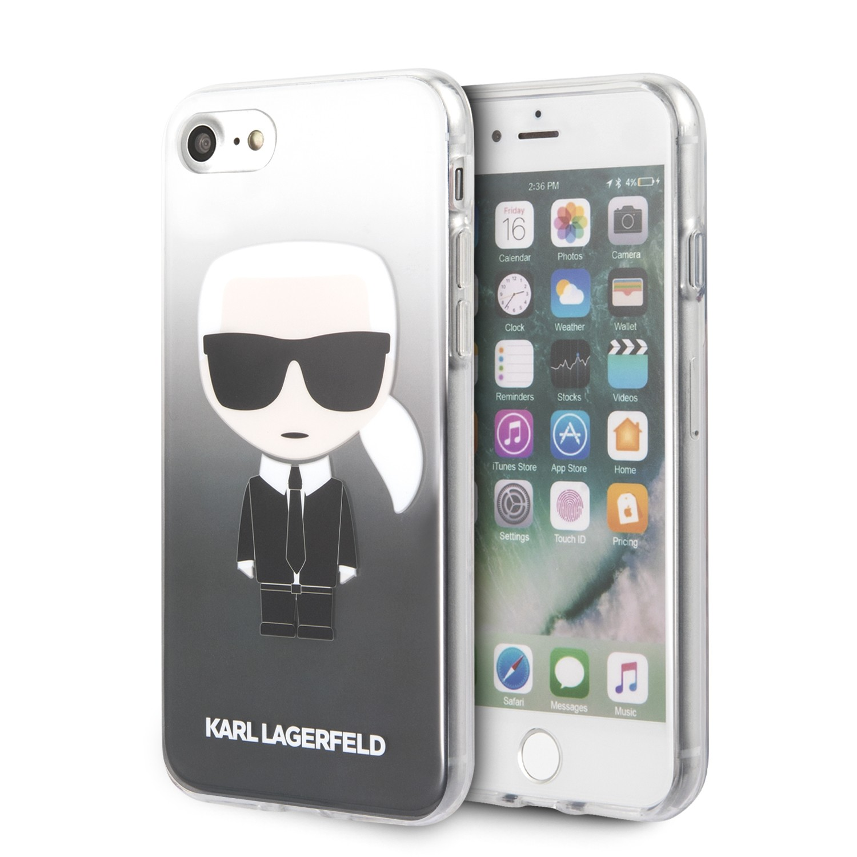 Apple iPhone 7/8/SE2 KARL LAGERFELD KLHCI8TRDFKBK TPU Hátlap - Fekete