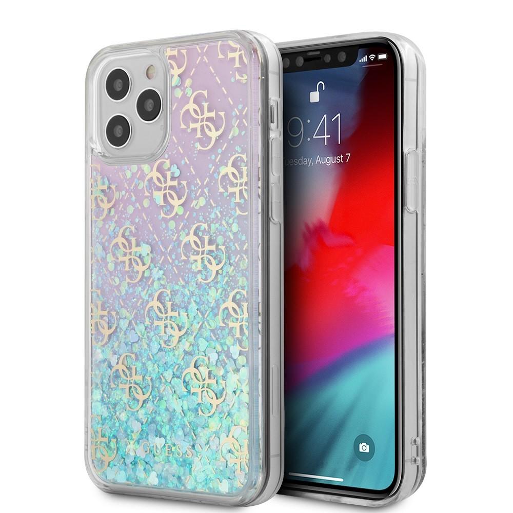 Apple iPhone 12 Pro Max GUESS GUHCP12LLG4GGBLPI Liquid Glitter TPU Hátlap - Rózsaszín
