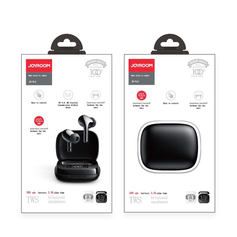 Joyroom JR-TL6 TWS Bluetooth 5.0 Headset - Fekete
