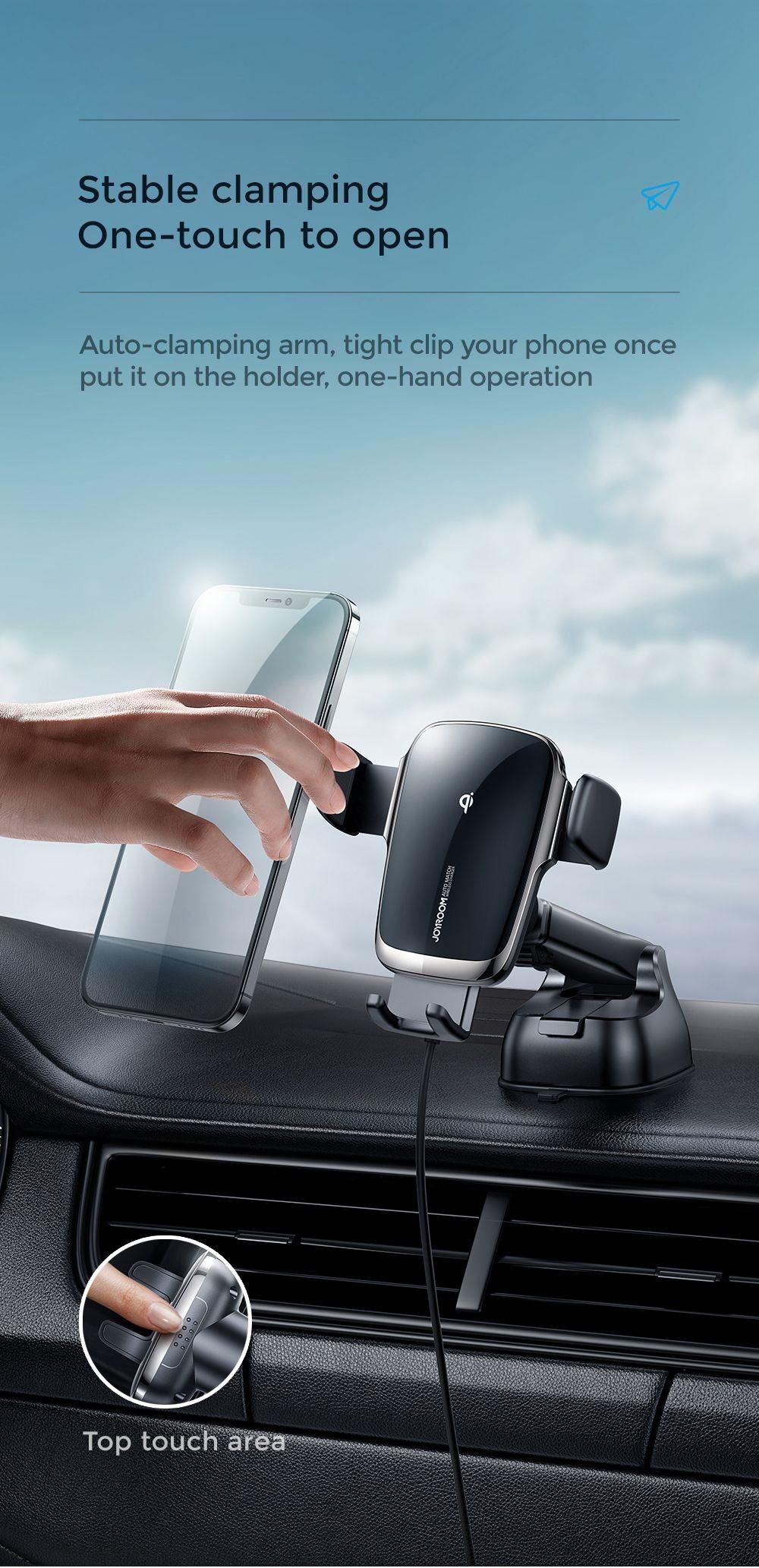 JOYROOM JR-ZS248 Autómata Dashboard 15W Wireless Autós Töltő és Tartó - Fekete