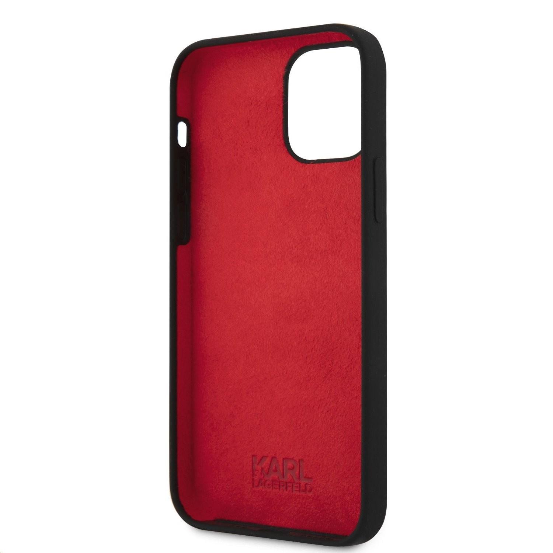 Apple iPhone 12 Mini KARL LAGERFELD KLHCP12SSLKLRBK Liquid Silicon Hátlap - Fekete