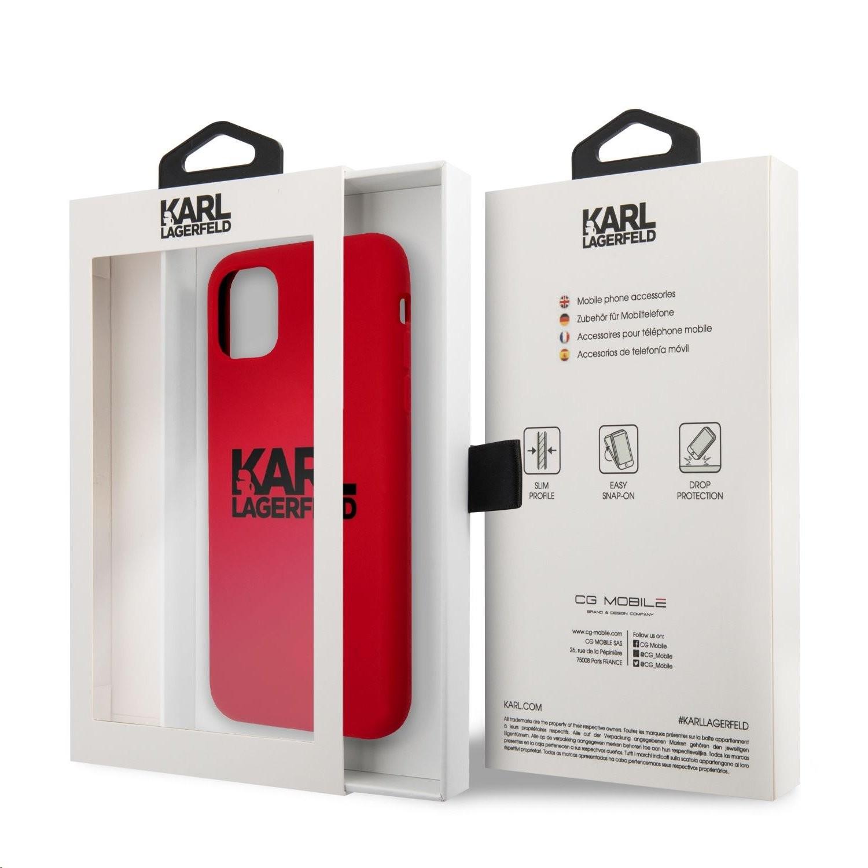 Apple iPhone 11 KARL LAGERFELD KLHCN61SLKLRE Liquid Silicon Hátlap - Piros