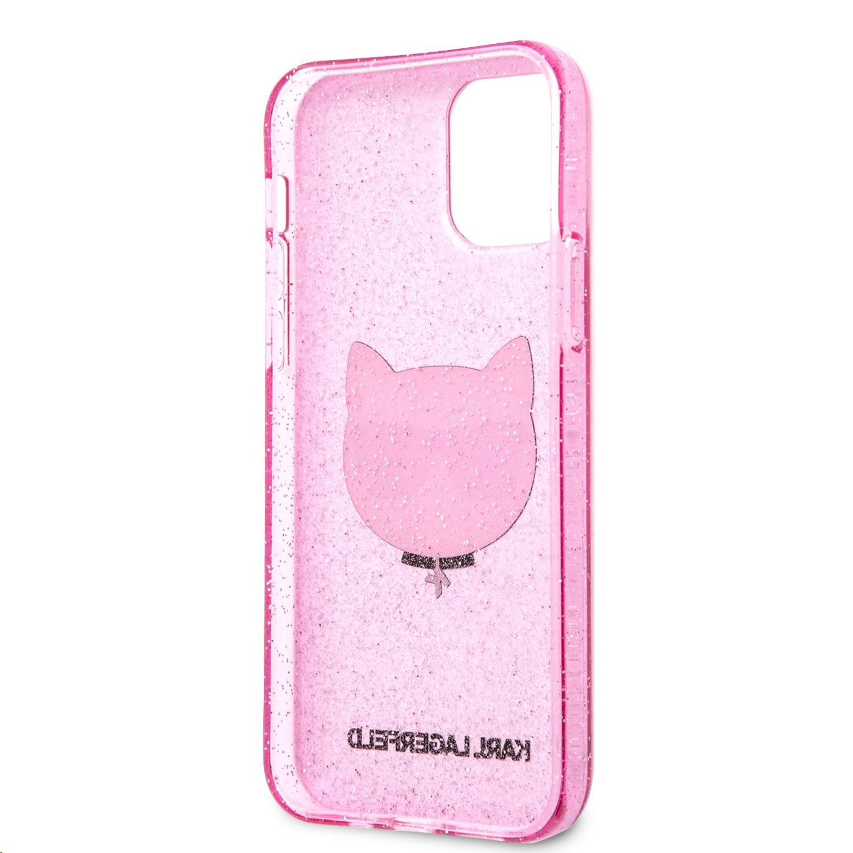 Apple iPhone 12/12 Pro KARL LAGERFELD KLHCP12MCHTUGLP Glitter TPU Hátlap - Rózsaszín
