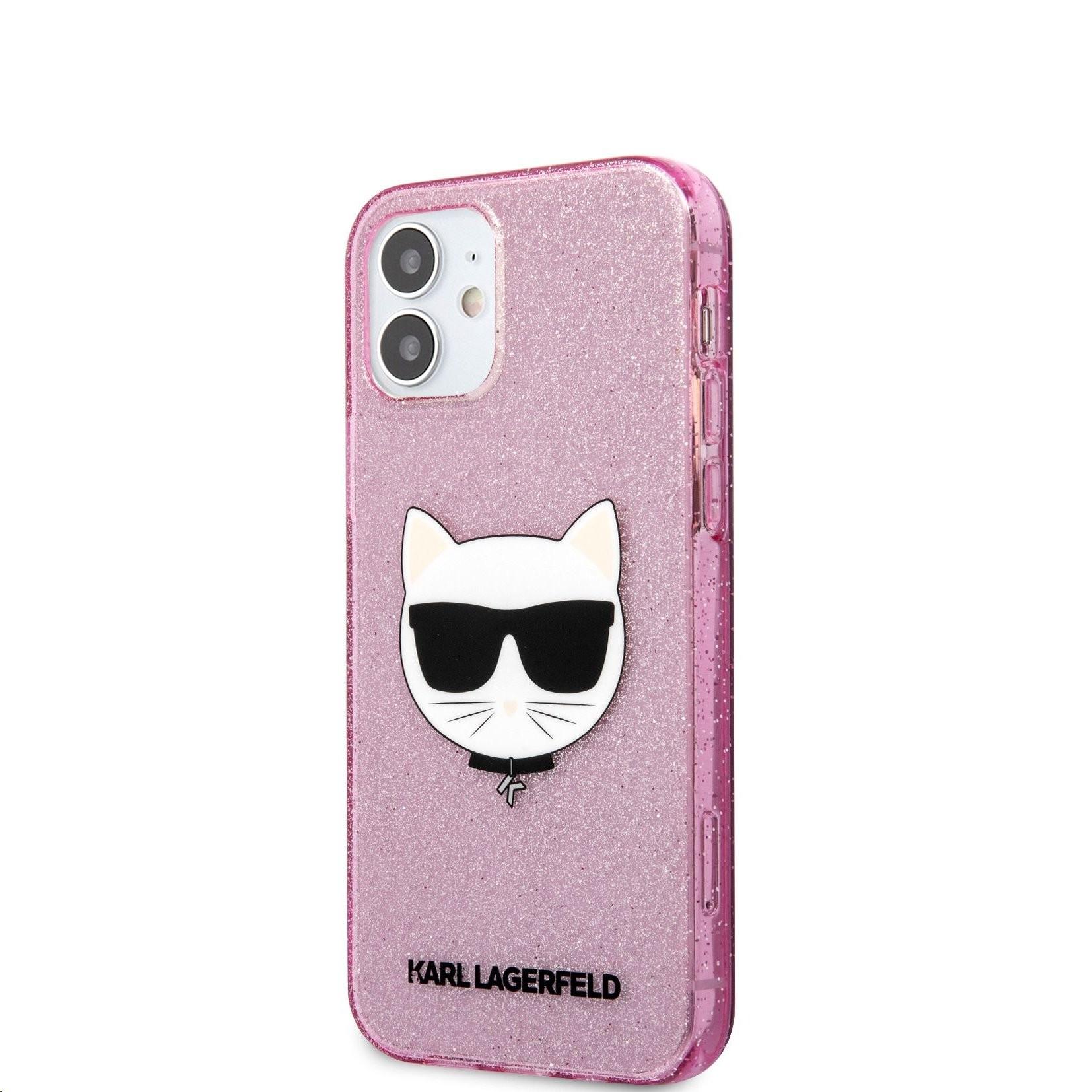 Apple iPhone 12 Mini KARL LAGERFELD KLHCP12SCHTUGLP Glitter TPU Hátlap - Rózsaszín