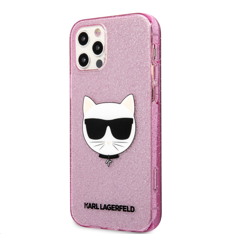 Apple iPhone 12 Pro Max KARL LAGERFELD KLHCP12LCHTUGLP Glitter TPU Hátlap - Rózsaszín