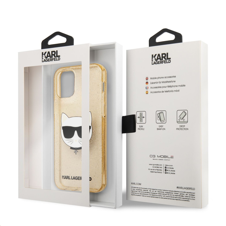 Apple iPhone 12 Mini KARL LAGERFELD KLHCP12SCHTUGLGO Glitter TPU Hátlap - Arany