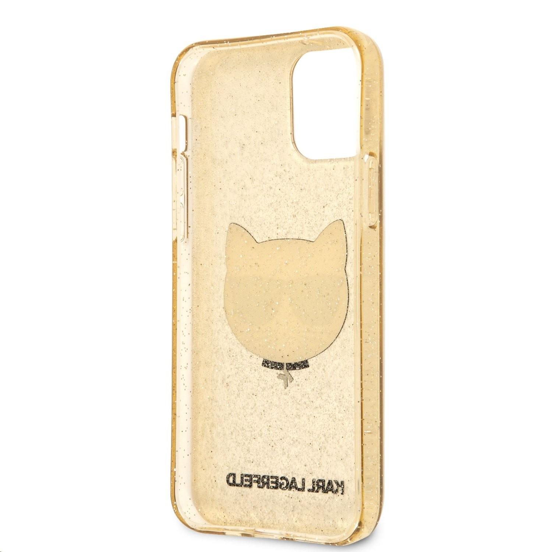 Apple iPhone 12 Pro Max KARL LAGERFELD KLHCP12LCHTUGLGO Glitter TPU Hátlap - Arany