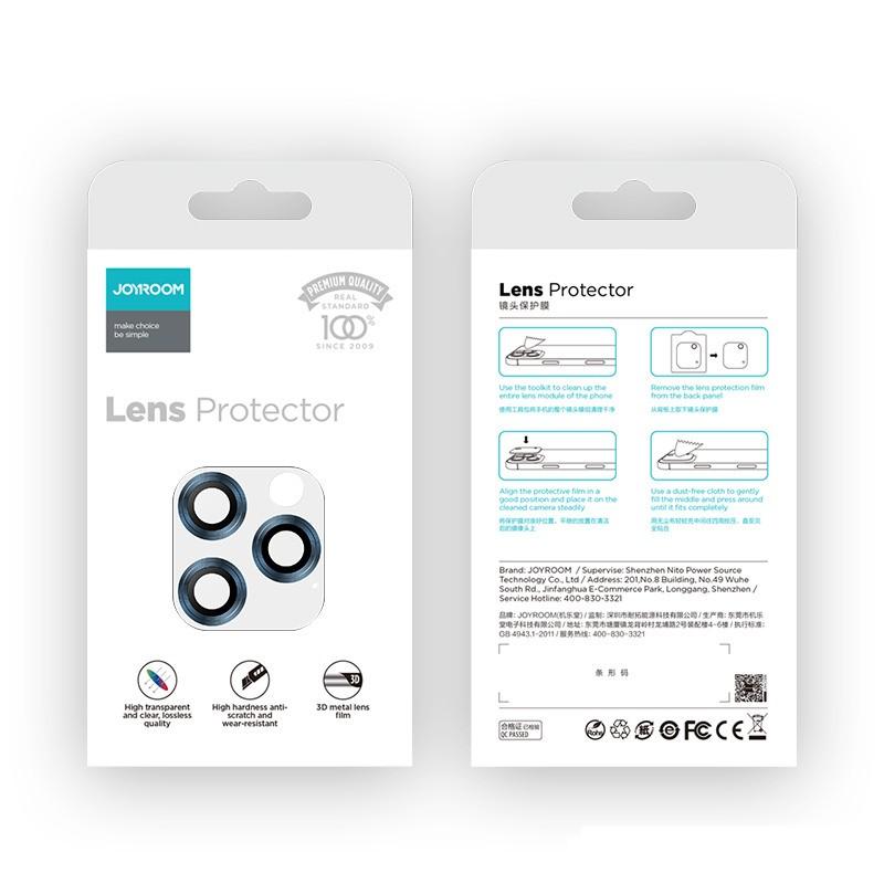 Apple iPhone 12 Pro Max Joyroom JR-PF689 3D Fém Kamera Védő Üvegfólia - Kék