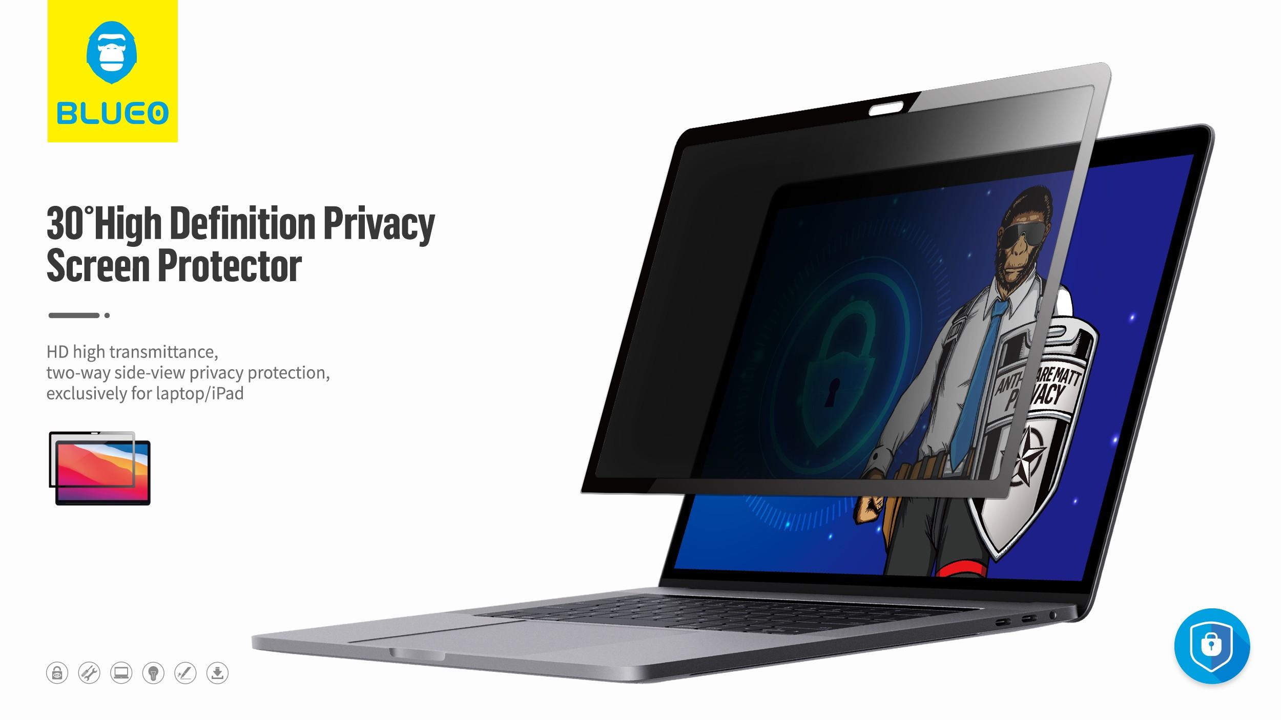 Apple MacBook Air/Pro 13.3' Blueo Privacy Fólia - Fekete