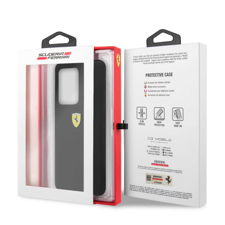 Samsung S20 Ultra Ferrari FESSIHCS69BK Liquid Silicon Hátlap - Fekete