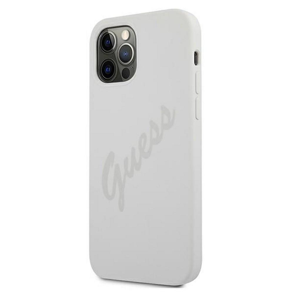 Apple iPhone 12 Mini GUESS GUHCP12SLSVSCR Liquid Silicon Hátlap - Fehér