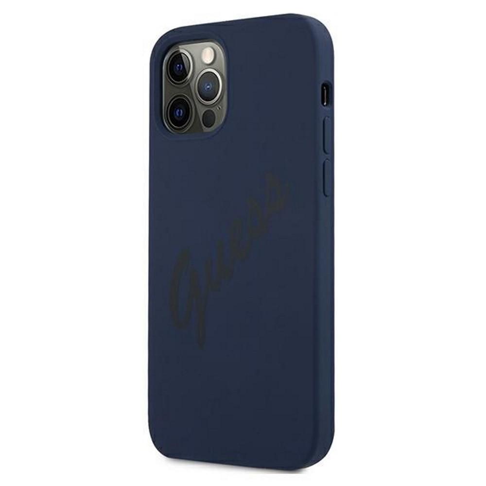 Apple iPhone 12 Mini GUESS GUHCP12SLSVSBL Liquid Silicon Hátlap - Kék