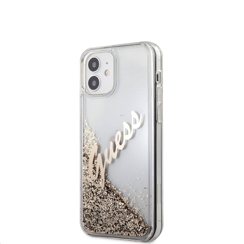 Apple iPhone 12 Mini GUESS GUHCP12SGLVSGO Liquid Glitter TPU Hátlap - Arany