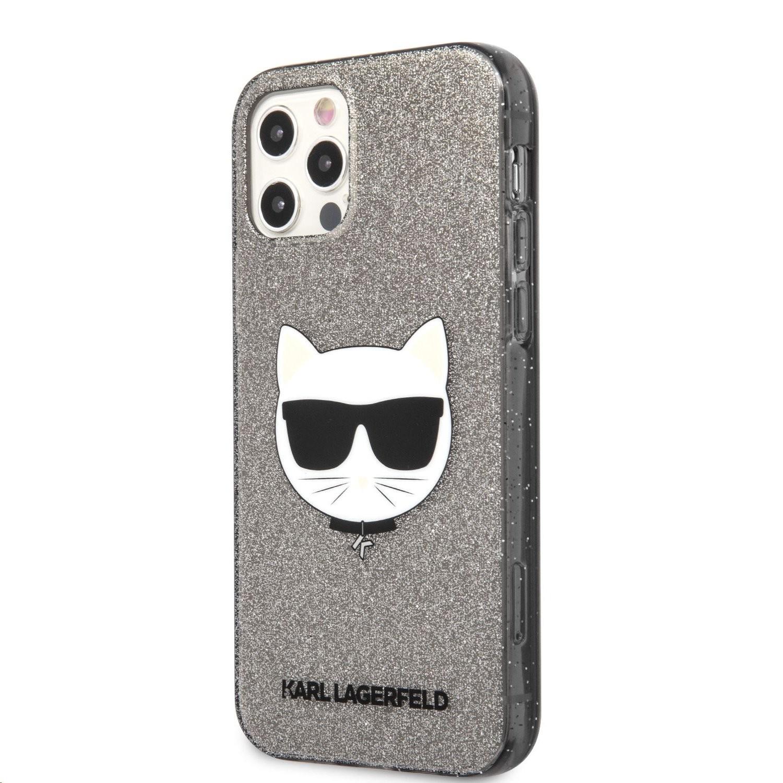 Apple iPhone 12/12 Pro KARL LAGERFELD KLHCP12MCHTUGLB Glitter TPU Hátlap - Fekete