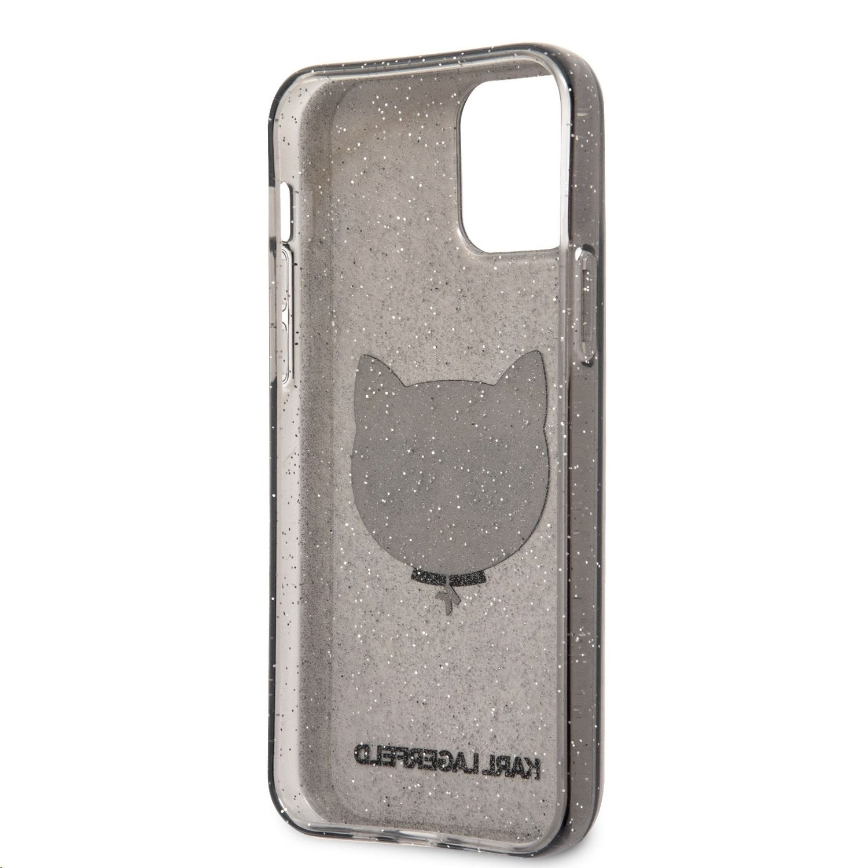 Apple iPhone 12 Pro Max KARL LAGERFELD KLHCP12LCHTUGLB Glitter TPU Hátlap - Fekete