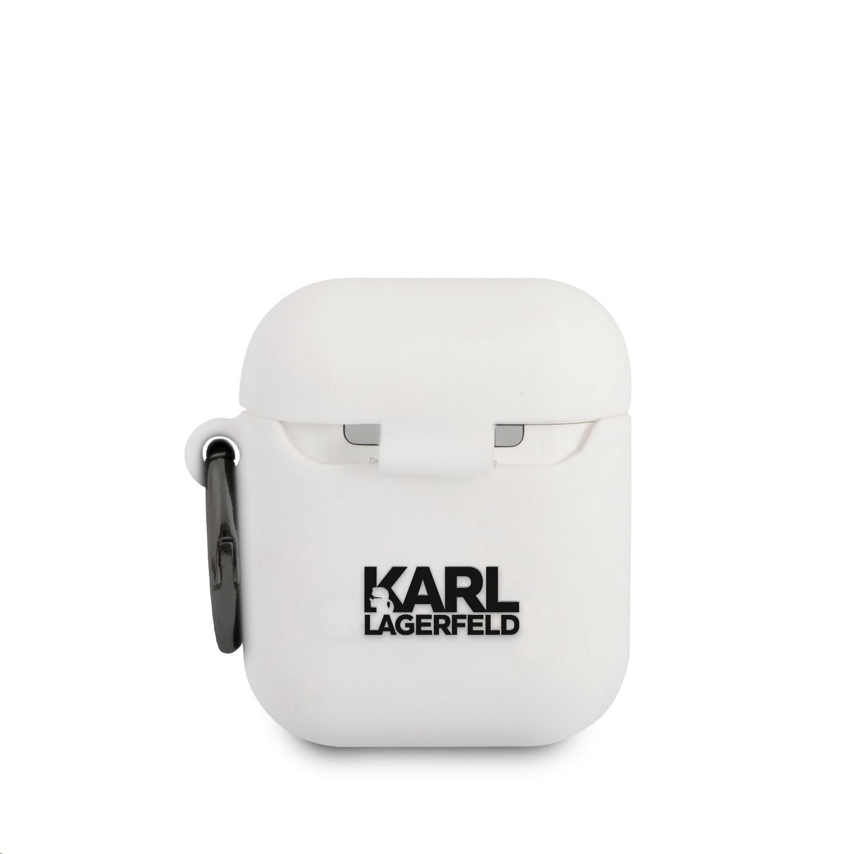 Apple Airpods 1/2 KARL LAGERFELD KLACCSILKHWH Liquid Silicon Tartó - Fehér