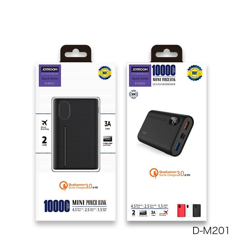 Joyroom D-M201 Qick QC 3.0 + PD 10000 mAh Powerbank - Fekete