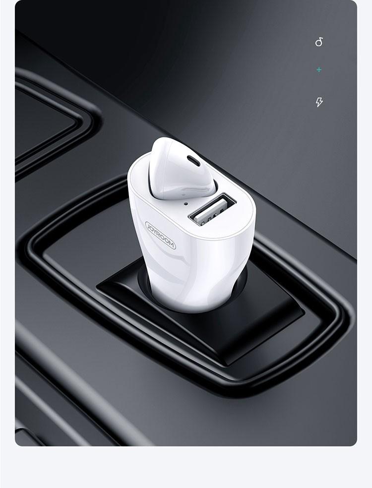 Joyroom JR-CP1 2in1 Bluetooth 5.0 Headset és Autós Töltőfej - Fehér